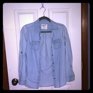 light washed jean button up shirt